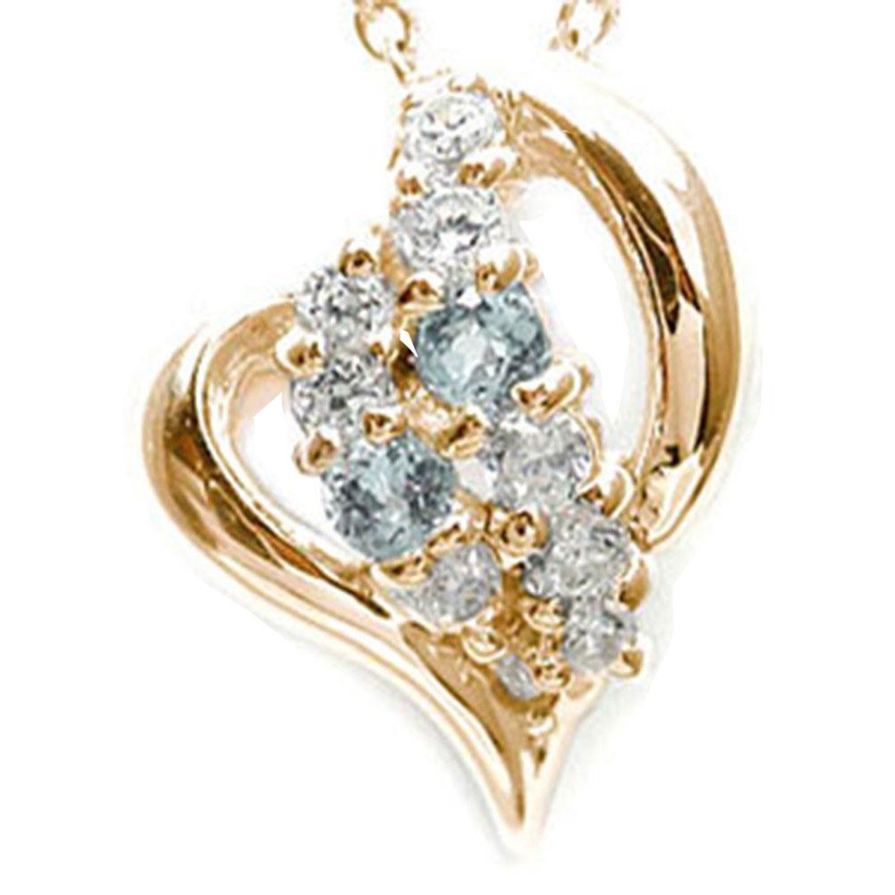 【送料無料】ハート アクアマリン ネックレス k18ピンクゴールド k18PG ペンダント ダイヤモンド 星 スター オープン チャーム 3月 誕生石