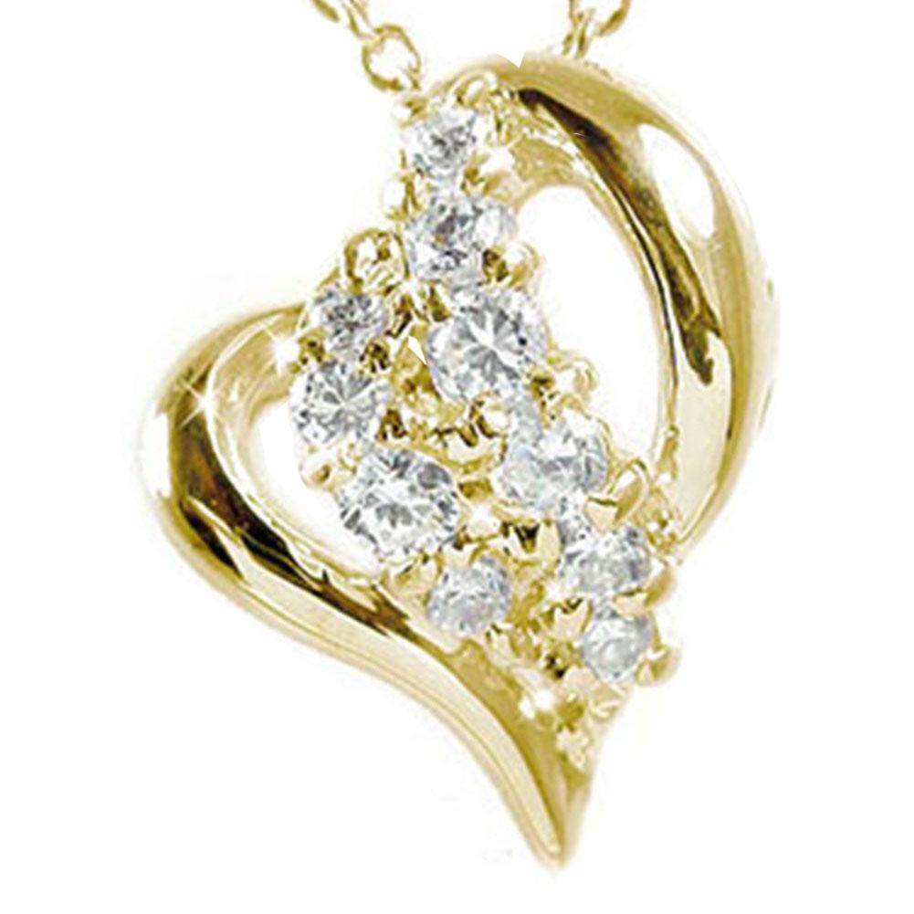 【送料無料】天の川 流れ星 ダイヤモンド ネックレス 10金 イエロー k10YG ペンダント オープンハート ゴールド GOLD プレゼント ギフト 母の日 4月 誕生石