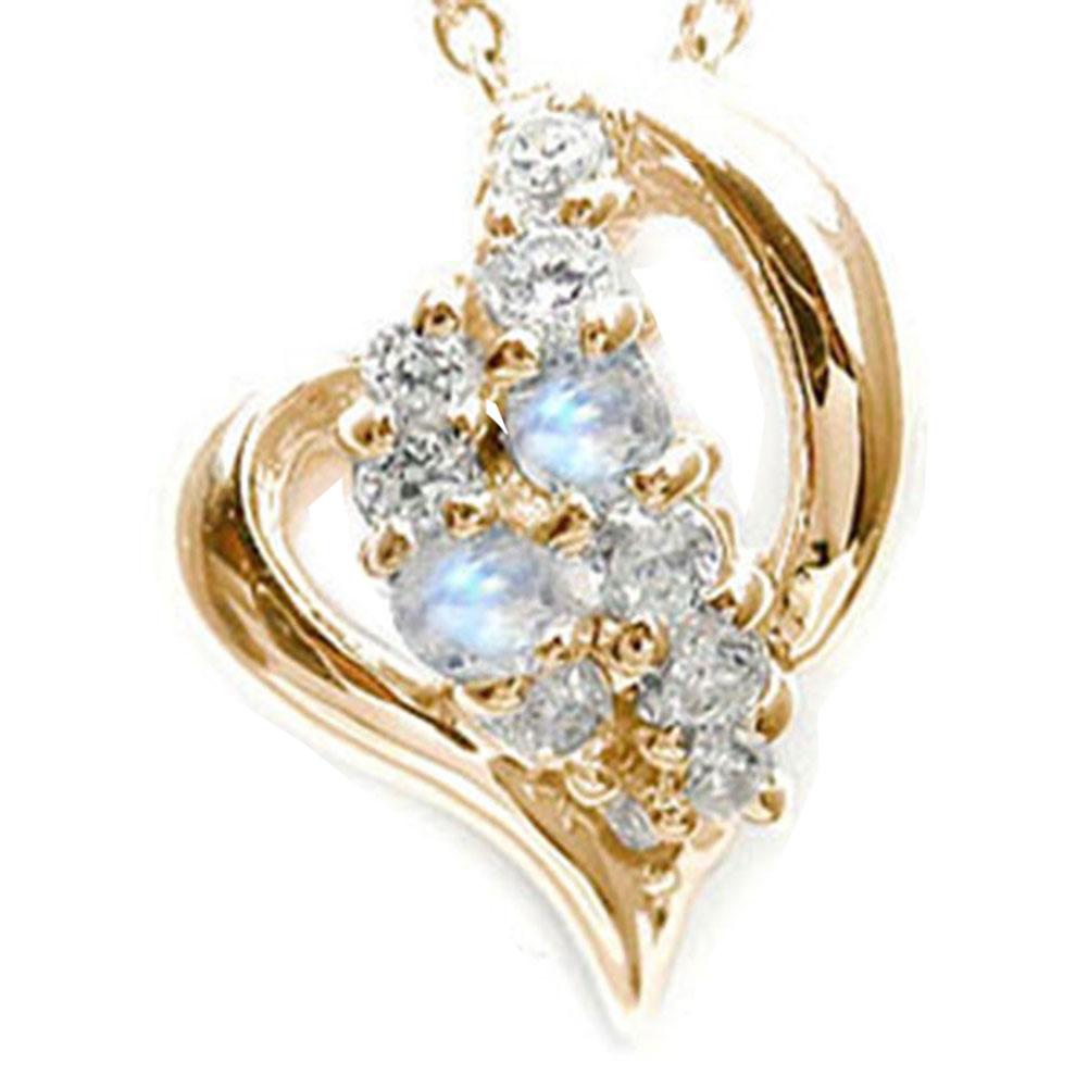 5月16日1時まで 【送料無料】ブルームーンストーン オープンハート ダイヤモンド 星 スター ネックレス ペンダント k10ピンクゴールド チャーム 6月 誕生石 買いまわり 買い回り