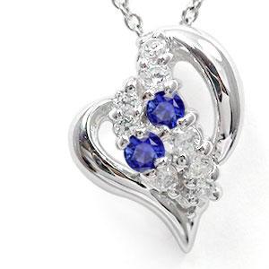 【送料無料】ハート ネックレス プラチナ900 サファイア ダイヤモンド 星 スター チャーム pt900 プレゼント ギフト 母の日 9月 誕生石