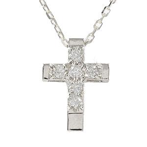 【送料無料】メンズ クロス ブラック ダイヤモンド ペア ネックレス プラチナペンダント pt900 プレゼント ギフト 4月 誕生石 父の日