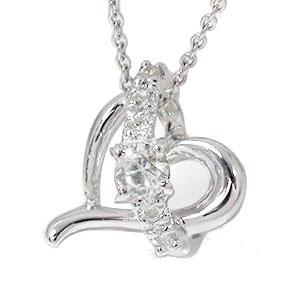 【送料無料】ダイヤモンド ネックレス k10ホワイトゴールドオープンハート 流れ星 スター チャーム レディース 誕生日 2017 記念日 贈り物 母の日 プレゼントギフト エトワール 4月 誕生石