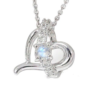 【送料無料】ブルームーンストーン ネックレス k18ホワイトゴールド ハート ダイヤモンド 流れ星 レディース 誕生日 2017 記念日 贈り物 母の日 プレゼントギフト エトワール 6月 誕生石