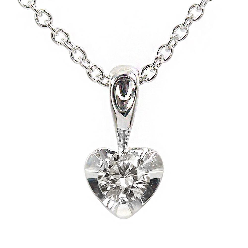 【送料無料】ダイヤモンド ハート ネックレス k18ホワイトゴールド 一粒 ペンダント レディース ユニセックス 誕生日 2017 記念日 贈り物 母の日 プレゼント ギフト Coeur クール 4月 誕生石