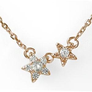 ネックレス ダイヤモンド 誕生石 双子 流れ星 フラワー 18金 カラーストーン プチペンダント【送料無料】