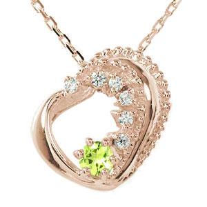 ネックレス ペリドット 18金 ダイヤモンド カラーストーン ハート 誕生石 美しい モチーフ プチペンダント【送料無料】