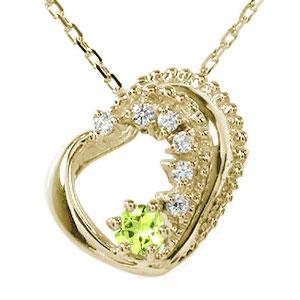5月16日1時まで ハート 誕生石 ネックレス ペリドット ダイヤモンド カラーストーン 10金 美しい モチーフ プチペンダント【送料無料】 買いまわり 買い回り