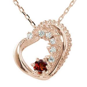 ネックレス ガーネット 18金 ハート 誕生石 美しい モチーフ ダイヤモンド カラーストーン プチペンダント チャーム 送料無料