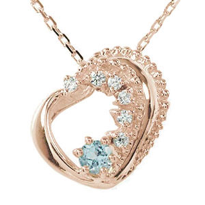10/4 20時~ ネックレス アクアマリン 18金 プチペンダント ハート 誕生石 美しい モチーフ ダイヤモンド カラーストーン チャーム 送料無料 買い回り 買いまわり