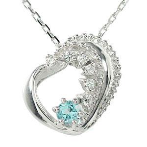 ブルートパーズ ハート 誕生石 ネックレス プラチナ 美しい モチーフ ダイヤモンド カラーストーン ペンダント チャーム 送料無料