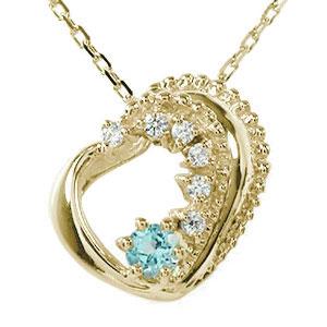 ハート 誕生石 ネックレス ブルートパーズ ダイヤモンド カラーストーン 10金 美しい モチーフ プチペンダント チャーム 送料無料