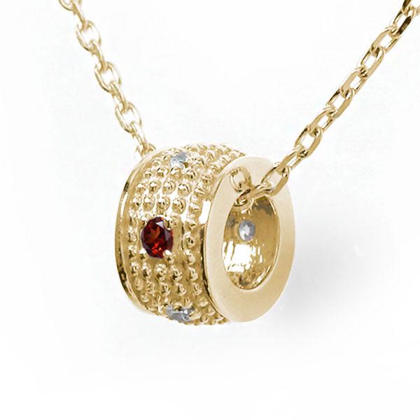 10/4 20時~ ミルグレイン 誕生石 ネックレス ガーネット 10金 千の粒 バレル モチーフ ダイヤモンド カラーストーン プチペンダント 送料無料 買い回り 買いまわり