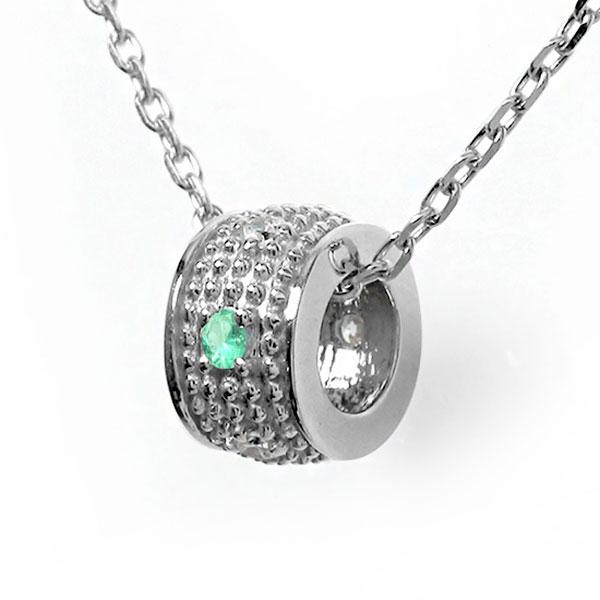 10/4 20時~ エメラルド ネックレス プラチナ ダイヤモンド カラーストーン ペンダント ミルグレイン 誕生石 チャーム 送料無料 買い回り 買いまわり