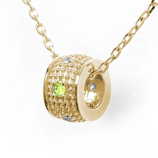 ミルグレイン 誕生石 ネックレス ペリドット ダイヤモンド カラーストーン 10金 千の粒 バレル モチーフ プチペンダント チャーム 送料無料