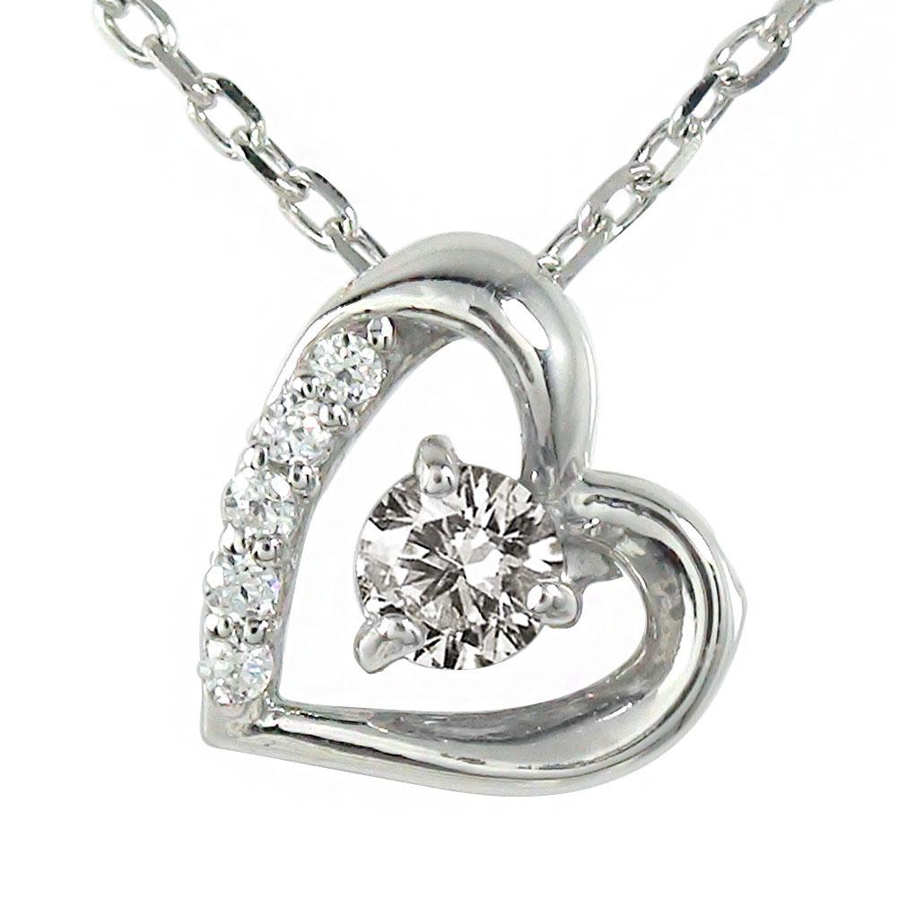 ダイヤモンド ネックレス プラチナ ダイヤモンド カラーストーン ハート 誕生石 微笑み 笑顔 ペンダント チャーム 送料無料