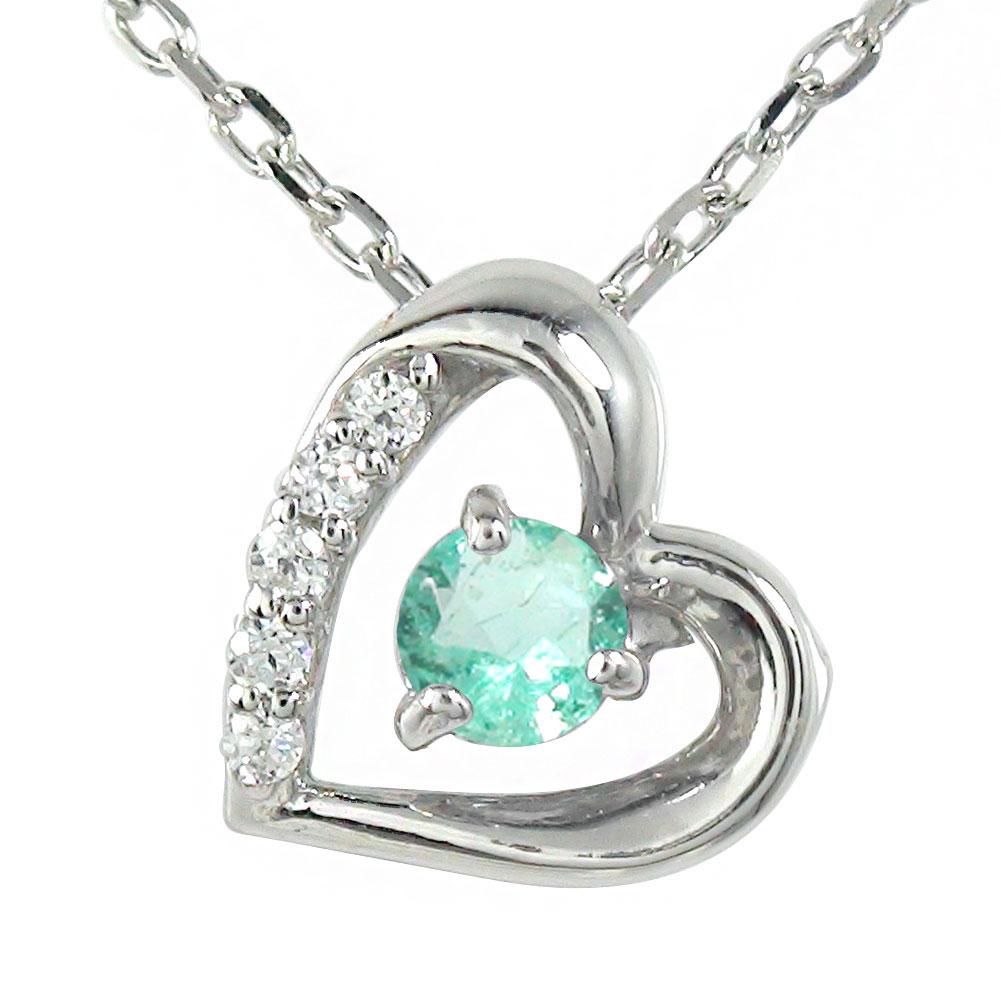 10/4 20時~ エメラルド ネックレス プラチナ ダイヤモンド カラーストーン ペンダント ハート 誕生石 チャーム 送料無料 買い回り 買いまわり