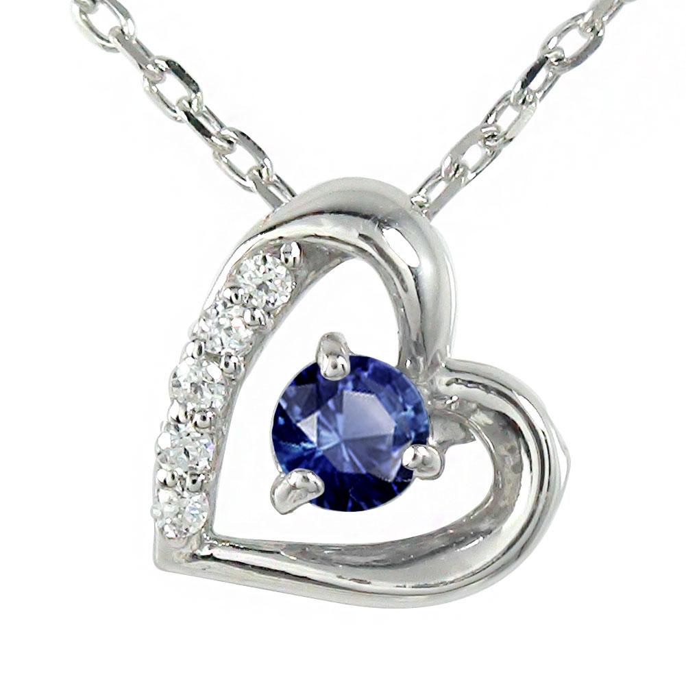 10/4 20時~ サファイア プラチナ ネックレス ハート 誕生石 微笑み 笑顔 ダイヤモンド カラーストーン ペンダント チャーム 送料無料 買い回り 買いまわり