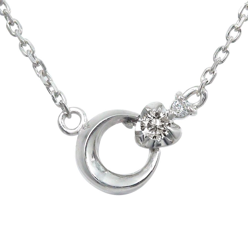 プラチナ ダイヤモンド ネックレス ダイヤモンド カラーストーン 誕生石 月 流星 モチーフ ペンダント【送料無料】