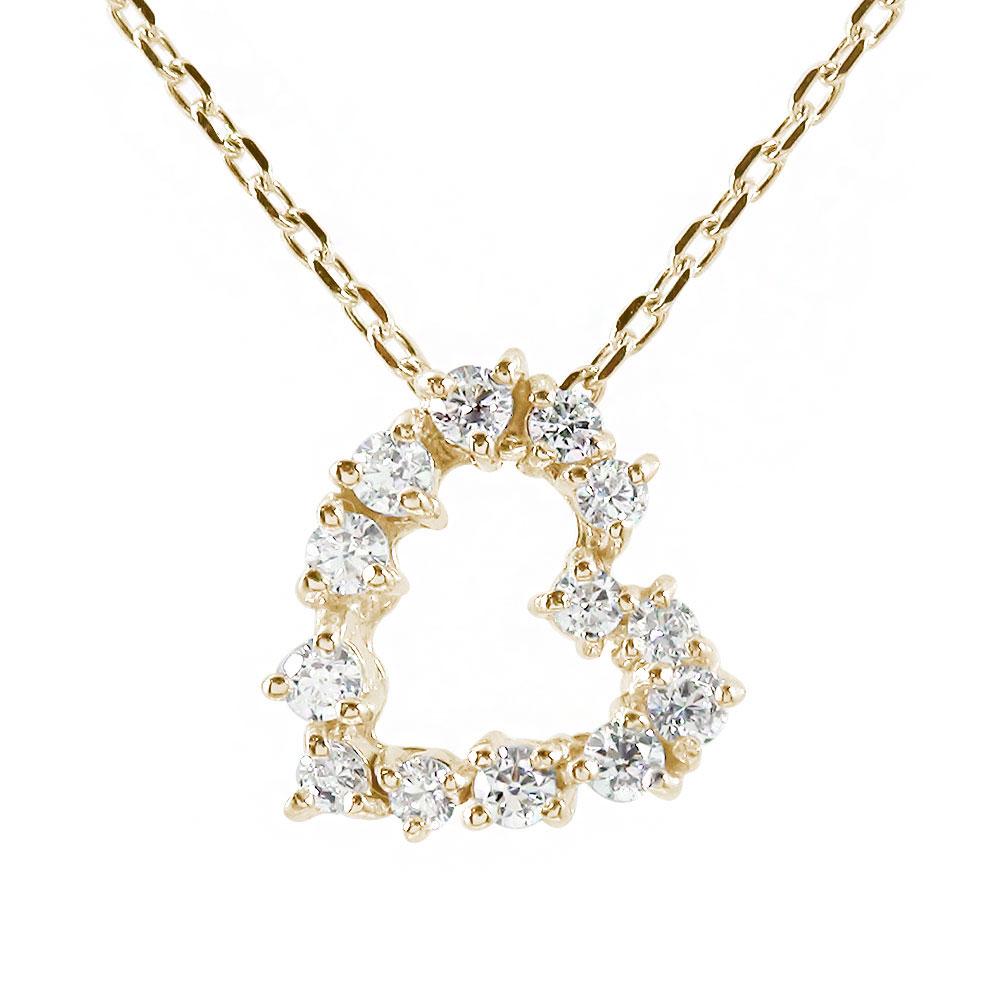 ハート ネックレス ダイヤモンド 10金 プチペンダントチャーム【送料無料】