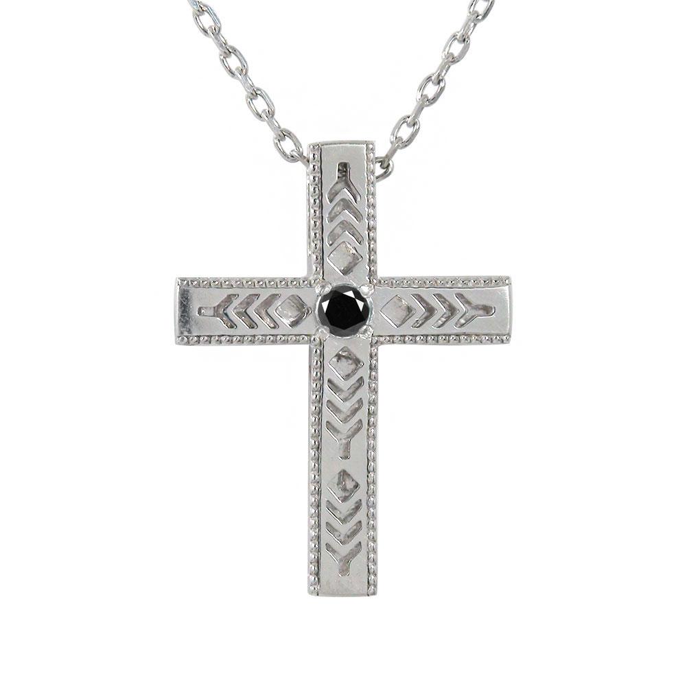 ダイヤモンド ブラックダイヤモンド インディアン クロス 十字架 美しい羽根 羽 フェザー プラチナ ネックレス メンズ【送料無料】