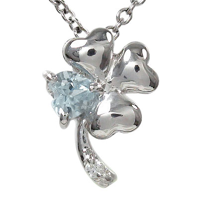 5月16日1時まで 【送料無料】クローバー アクアマリン ネックレス チャーム k10ホワイトゴールド k10WGダイヤモンド ハート 四つ葉 ユニセックス 誕生日 2017 記念日プレゼント3月 誕生石 買いまわり 買い回り