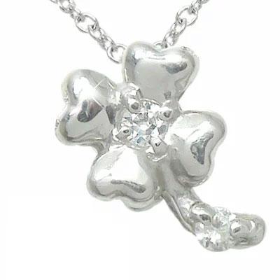 5月16日1時まで 【送料無料】クローバー ハート ネックレス k10ホワイトゴールドダイヤモンド ペンダント レディース誕生日 2017 記念日 母の日 プレゼント clover4月 誕生石 買いまわり 買い回り