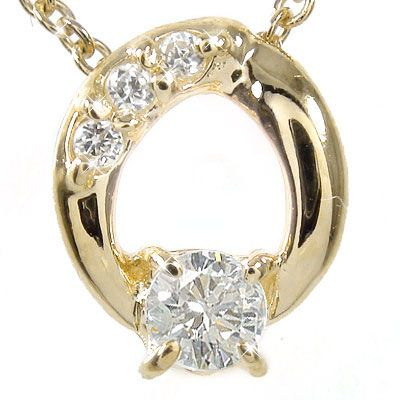 【送料無料】ダイヤモンド ネックレス k18イエローゴールド オーバル チャーム ギフト 贈り物プレゼント プレゼント 誕生日 自分へのご褒美に 4月 誕生石