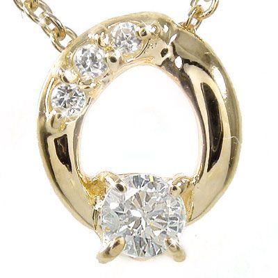 【送料無料】ダイヤモンド ネックレス チャーム k10イエローゴールド オーバル プレゼント ギフト 母の日 4月 誕生石