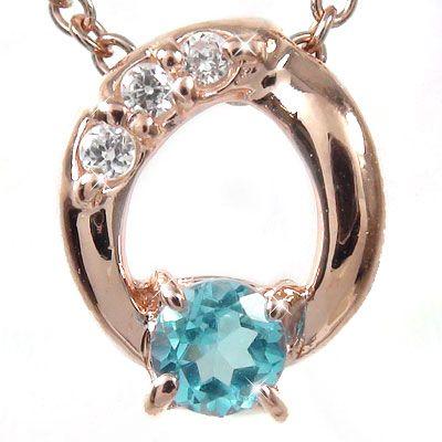 5月16日1時まで 【送料無料】ブルートパーズ ダイヤモンド オーバルネックレス チャーム ダイヤ k18ピンクゴールド k18PG プレゼント ギフト 母の日 11月 誕生石 買いまわり 買い回り