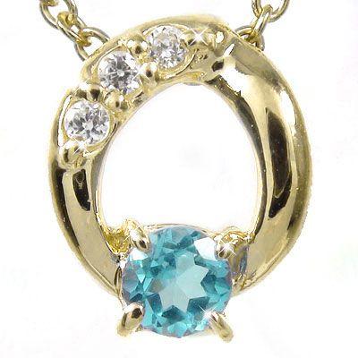 【送料無料】ブルートパーズ ダイヤモンド オーバルネックレス チャーム ダイヤ K18イエローゴールド ギフト 記念日プレゼント プレゼント 誕生日プレゼント 大切な方に 11月 誕生石
