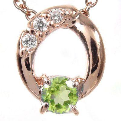 【送料無料】ペリドット ネックレス チャーム k18ピンクゴールド k18PG オーバル ダイヤモンド パワーストーン プレゼント ギフト 母の日 8月 誕生石