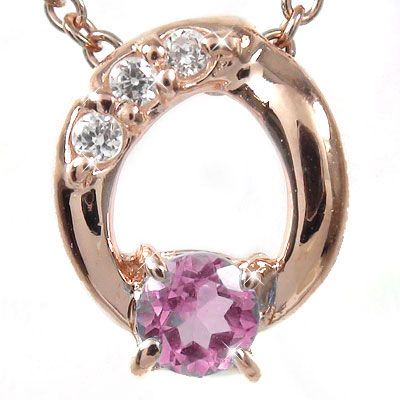 5月16日1時まで 【送料無料】ピンクトルマリン オーバル ネックレス チャーム ダイヤモンド k18ピンクゴールド k18PG プレゼント ギフト 母の日 10月 誕生石 買いまわり 買い回り