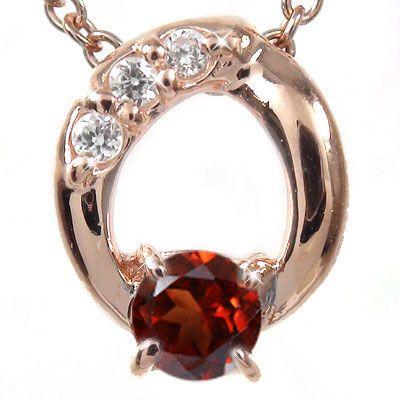 5月16日1時まで 【送料無料】ガーネット ネックレス k18ピンクゴールド k18PG ダイヤモンド オーバル レディース ユニセックス 誕生日 2017 記念日プレゼント 1月 誕生石 買いまわり 買い回り