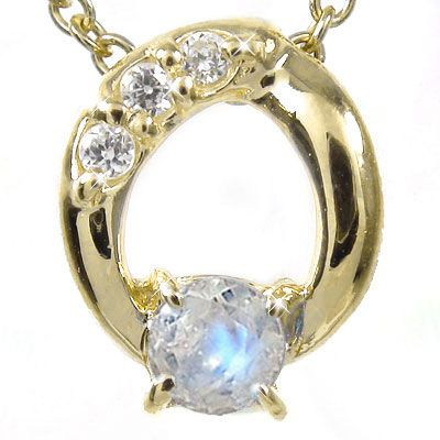5月16日1時まで 【送料無料】ブルームーンストーン オーバル ネックレス チャーム ダイヤモンド k18イエローゴールド プレゼント ギフト 母の日 6月 誕生石 買いまわり 買い回り