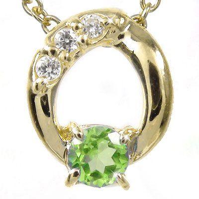 【送料無料】ペリドット ネックレス チャーム k10イエローゴールド ダイヤモンド オーバル プレゼント ギフト 母の日 8月 誕生石