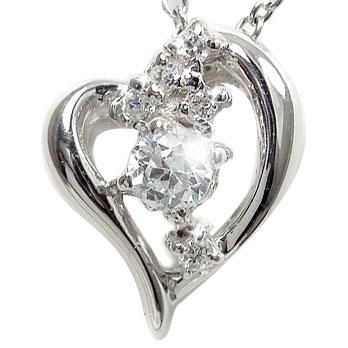 【送料無料】ダイヤモンド オープンハート ネックレス チャーム 星 スター 流星k10ホワイトゴールドレディース ユニセックス 誕生日 2017 記念日 母の日 プレゼント 4月 誕生石