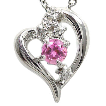 5月16日1時まで 【送料無料】ピンクサファイア ダイヤモンド オープンハート ネックレス チャーム 星 スター 流星k18ホワイトゴールド レディース誕生日 2017 記念日 母の日 プレゼント 9月 誕生石 買いまわり 買い回り