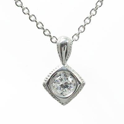 【送料無料】四角 ダイヤモンド ネックレス 10金 アンティーク 一粒ペンダント ギフト 記念日 母の日 プレゼント 誕生日プレゼント 大切な方に ゴールド GOLD 4月 誕生石