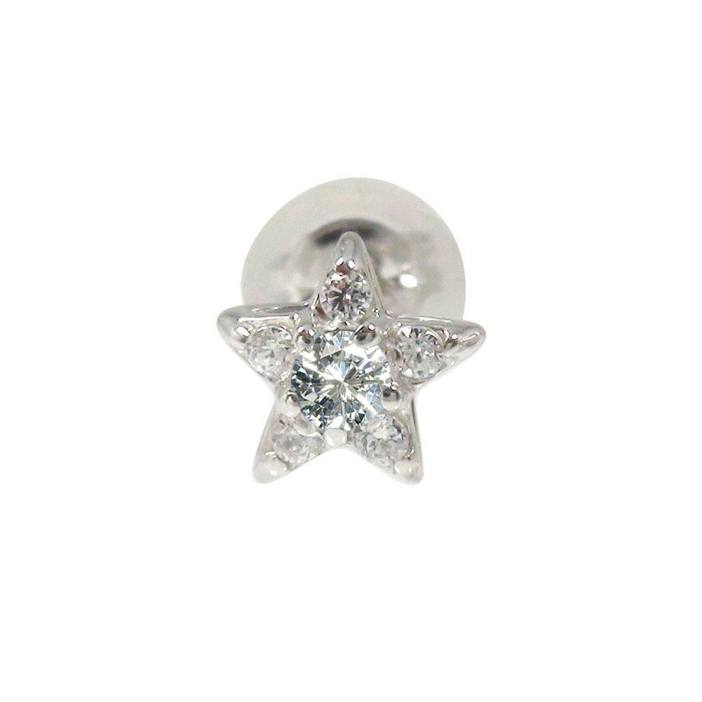 10/4 20時~ プラチナ スター 星 ダイヤモンド 片耳ピアス 誕生石 買い回り 買いまわり