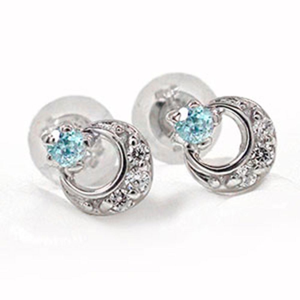 10/4 20時~ アクアマリン 月 ピアス 流れ星 スター 流星 ダイヤモンド トリロジー 10金 誕生石ピアスホワイトデープレゼント  サプライズ 送料無料 買い回り 買いまわり