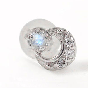 10/4 20時~ ブルームーンストーン ピアス 流れ星 スター 流星 月 片耳 プラチナ ダイヤモンド トリロジーピアス サプライズ 送料無料 買い回り 買いまわり