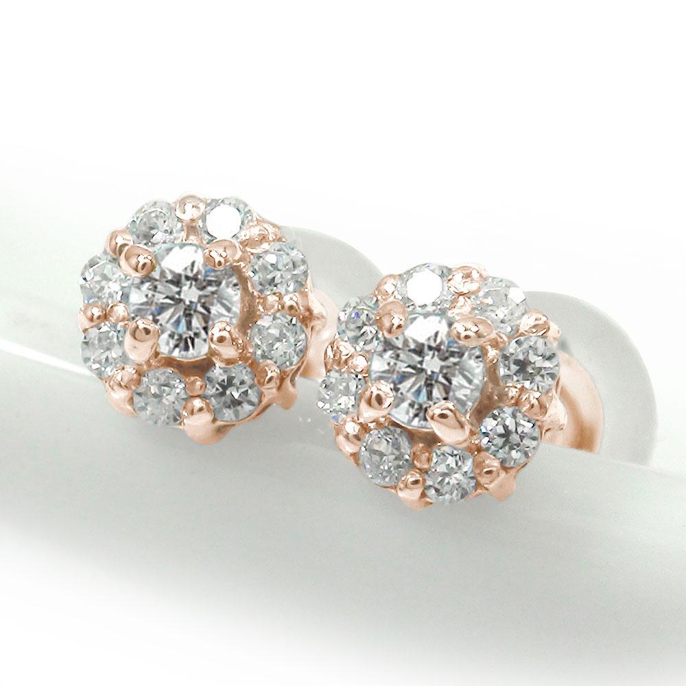 10/4 20時~ 取り巻き フラワーモチーフ ピアス 花 18金 ダイヤモンド 誕生石 買い回り 買いまわり