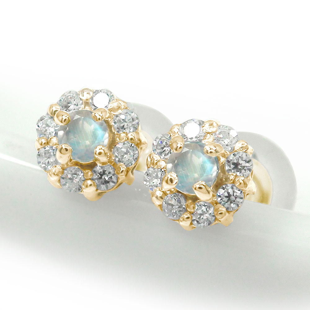 10/4 20時~ 誕生石 取り巻き フラワーモチーフ ピアス 花 10金 ブルームーンストーン ダイヤモンド 買い回り 買いまわり