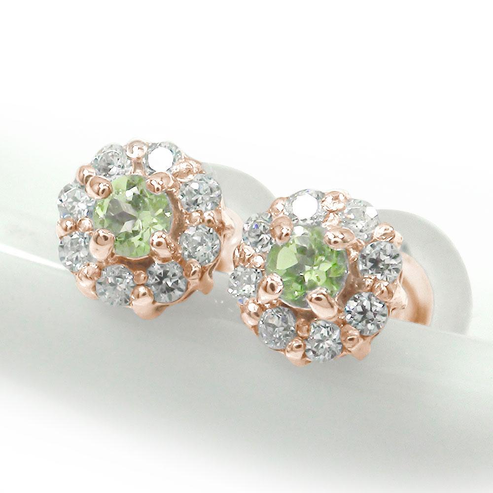 取り巻き フラワーモチーフ ピアス 花 18金 ペリドット 誕生石 ダイヤモンド