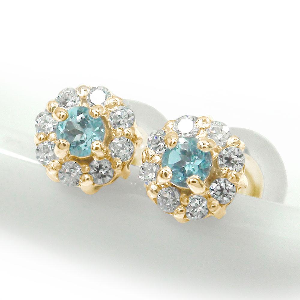 10金 ブルートパーズ ダイヤモンド 取り巻き フラワーモチーフ ピアス 花 誕生石