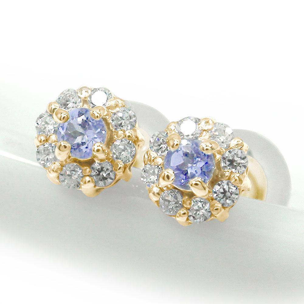10/4 20時~ 10金 取り巻き フラワーモチーフ ピアス 花 誕生石 タンザナイト ダイヤモンド 買い回り 買いまわり