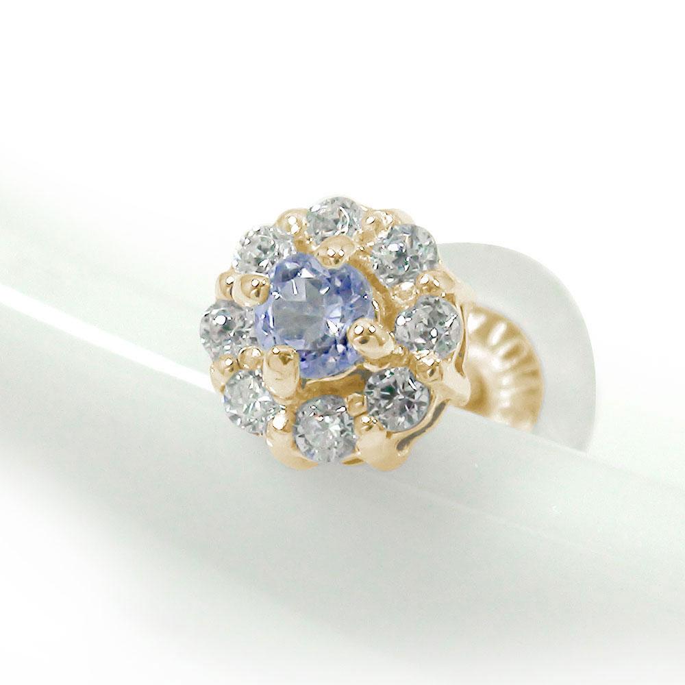 10金 取り巻き フラワーモチーフ 片耳ピアス 花 誕生石 タンザナイト ダイヤモンド