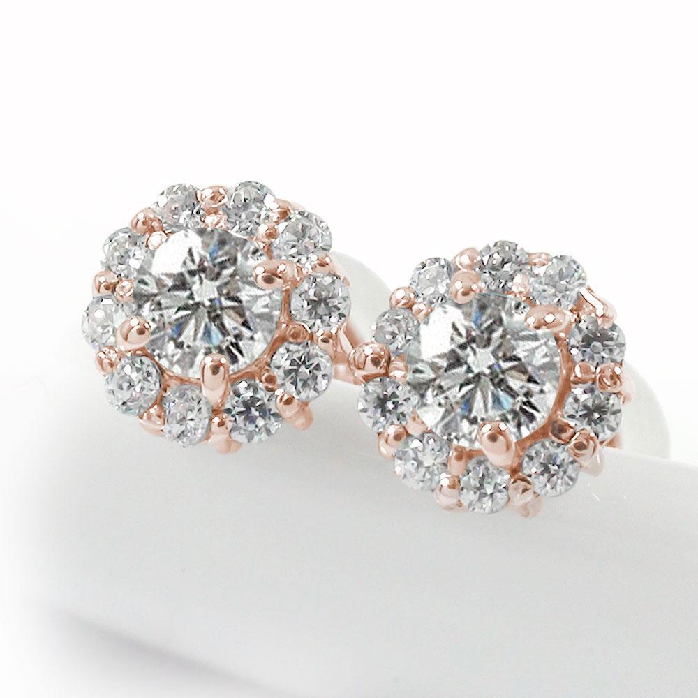 取り巻き フラワーモチーフ ピアス 花 18金 ダイヤモンド 誕生石