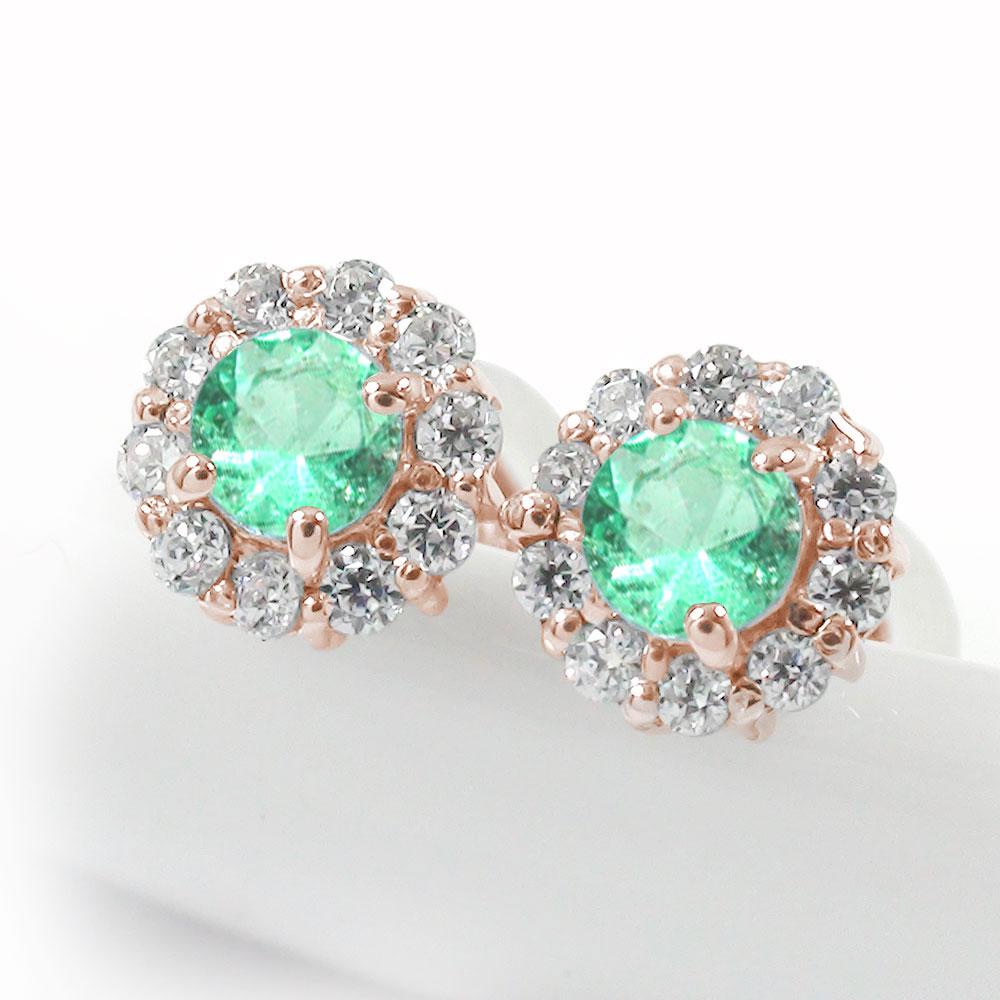 取り巻き フラワーモチーフ ピアス 花 18金 エメラルド ダイヤモンド 誕生石