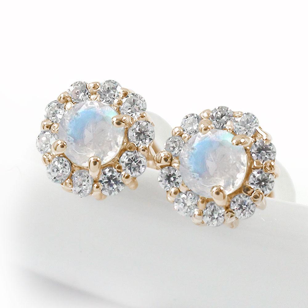 誕生石 取り巻き フラワーモチーフ ピアス 花 10金 ブルームーンストーン ダイヤモンド